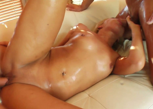 Rapacious hoe with oiled body Sylvia Laurent gets banged in 3some