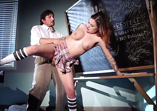 Horny schoolgirl takes her uniform off
