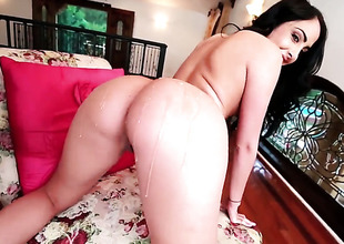 Dianna Dee with large booty has fire in her eyes as she strokes her fuck buddys sturdy wang