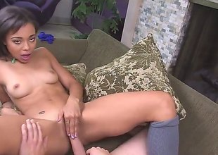 After the blow job is given, attention shifts to her wet crack which gets penetrated. This sexy Latina loves it and this babe gets really wet from it.