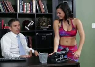 That babe really wants a raise 'cuz that babe really wants to buy some new shoes. So that babe visits the boss. He says no, but after having sex in office, this guy says yes!