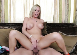 Tasha Reign with juicy knockers and bald beaver gets her love tunnel humped hard and unfathomable by Ryan Driller in a wide multiformity of positions