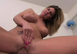 Nasty blonde MILF gets paid to endure a violent anal ravaging