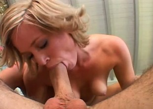 Blonde cutie Naomi tongues a man's anal hole and copulates his hard knob