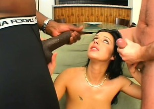 Sexy Euro babe an an interracial threesome with large rods and DPs