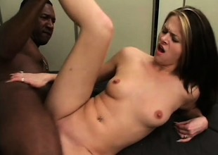 Pretty juvenile babe gets drilled hard by a black dude all over the sofa