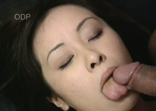 Breasty Japanese gal Mayu blows a overweight cock and gets drilled on the sofa