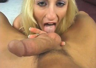 A hot and horny blonde rides a huge hard dick in a POV scene