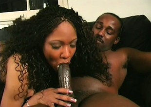 Ebony babes love to take each inch of a huge throbbing cock