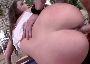 Long haired brunette darling Allie Haze riding a terrific meat pole