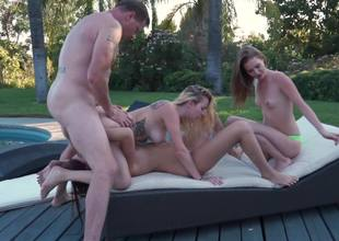 A foursome is getting recorded by the pool with some fine women