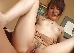 Sexy Oriental girlfriend got her pussy stuffed with various toys