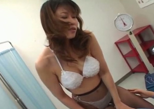 Super Japanese doctor treats her patient with awesome 69 sex