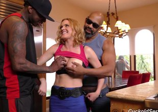 Two large black boners fuck cheating wife Krissy Lynn