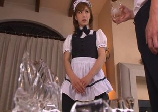 Japanese maid is dedicated to the raunchy service of her dominant
