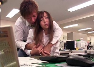 Pantyhose and skirt on a secretary slut this guy bangs in the office