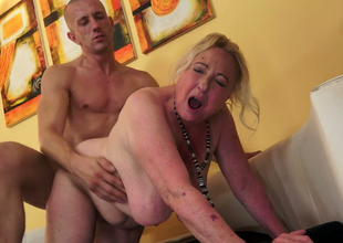 Bulky and unattractive granny Sila gets drilled hard by a bald dude