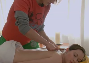 Cute and playful Russian juvenile chick enjoys erotic massage