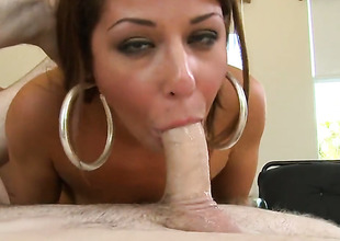 Brunette Mia Gold with small boobs and hairless twat is skilled enough to make dude cum again and again