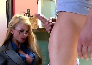 Blonde Taylor Wane with giant hooters and shaved muff warms Xander Corvus up and takes his dick