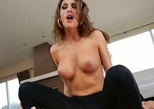 August Ames takes off her top and gets her black stocking ripped apart so her lad could have easy access. That babe then gets an anal gangbang.