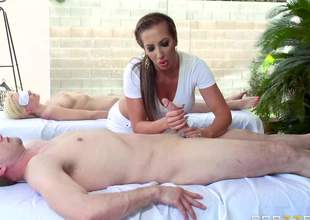 Curvy MILF Richelle Ryan is good at giving handjob. Playful masseuse strokes favourable guys hard dick with her perfect bubble butt up right in frotn of his blindfolded wife. Shes super hot!