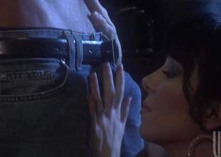 When that guy got home, Jack was cheerful to find his wife stripped awaiting for him. Busty Rayveness pulled down his pants and shook her boobs for him