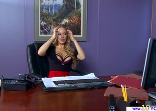 Sexy Nicole bonks her employee for disturbing her masturbation session