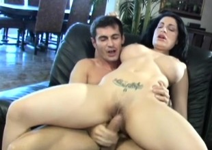 Breasty MILF Priscilla Sin can't wait to swallow her milk from a big cock