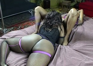 Dirty lesbo babes Miss C and Nina Fierce assist each other to cum