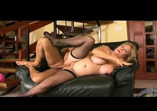 Plumper old blonde whore wants more and takes it in her chunky ass
