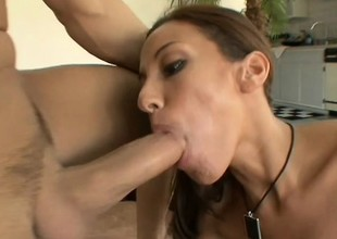 Skinny brunette hair milf Adriana gets her pussy banged in various poses