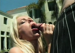 Horny guy grabs the huge gazoo of horny blonde and gets good use of it