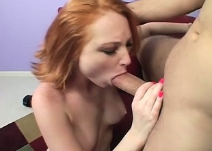 Pale redhead babe with merry titties suffers some violent a bit of butt