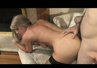 Luscious golden-haired milf seduces and copulates her daughter's sexy boyfriend