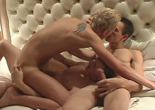 The movie jumps right into the first scene with a hot threesome with Tory Mason as PeePee Plenty, Blaze Corgan as Willy Takeit, and Jason Raze as Jack MeOff. After some knob engulfing and butt pounding action, they all blow their loads onto Willy. Tory gets