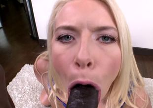 Blonde with a terrific booty rides a black cock in a POV scene