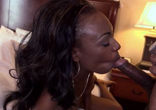 Black dick satisfies sexy Brandi Foxx in a hotel room