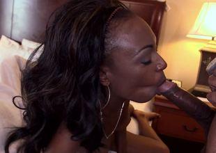Black dick satisfies sexy Brandi Foxx in a hotel room
