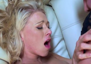 Mature blonde lady with large boobs is getting penetrated well