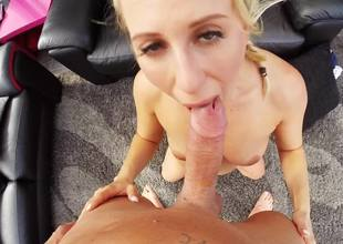 A sexy amateur with a sexy body gets on her knees to suck a dick