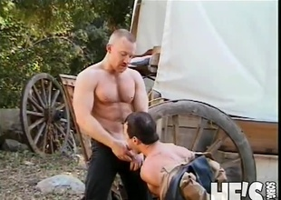 It's been a lengthy day to the fore Dude Ranch and these two Cowboys are ready to take a little time off. Fortunately, what they actually end up doing is taking a little time on...each others big cocks! Watch as these Cowboys fuck and engulf their way to two creamy