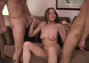 Cute natural redhead beauty gets fuck by two hot studs with some nifty  anal and double penetration action in this nifty 2 on 1 scene!