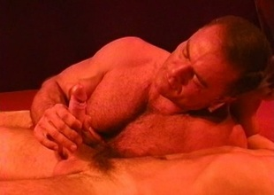 Muscle bear kissing and blowjob warm up for CBT session