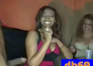 Horny black stripper sucked in club