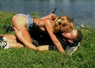 Well stacked blonde legal age teenager gets fucked hardcore outdoors by her horny stud