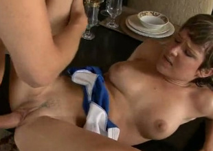 Short and light haired gal Katie St gets bald cunt fucked on the table