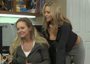 Hot blondes shove their tongues down their vulva rubbing against their itchy clits