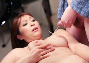 Breasty mom, Araki Hitomi, enjoys toys in her vag