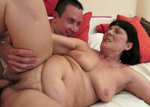 Nasty grandma with flabby belly Margo T gets banged by a horny stud